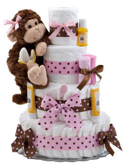 Our Lil Monkey Pink Diaper Cake